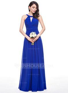 A-Line/Princess Scoop Neck Floor-Length Chiffon Bridesmaid Dress With Ruffle (007059442)