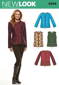 This functional jacket and vest can be made with a zipper front and side slit pockets. Jacket and vest with patch pockets are also suitable requited fabrics and contrast sleeves on jacket. New Look sewing pattern. New Look Patterns, Sewing Patterns, Coat Patterns, Clothing Patterns, Boucle Jacket, Vest Jacket, New Look Women, Jackets For Women, Clothes For Women