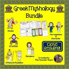 Greek Mythology Bundle : This bundle combines 5 products into 1 for a great value!. Text Dependent Questions, Writing Prompts, Character Analysis, Vocabulary Matching Worksheets and more in this complete lesson bundle! $