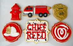 Firefighter sugar cookies by .Oh Sugar Events Cookie Icing, Cupcake Cookies, Sugar Cookies, Cupcakes, Iced Cookies, Cookie Cutters, Fire Fighter Cake, Firefighter Birthday, Cookie Favors