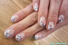 January nails. It is a gorgeous nail with the tip filled with hologram.  I will look pretty by white, light blue, pink the color of the hologram.  Art is a snow crystal seal.