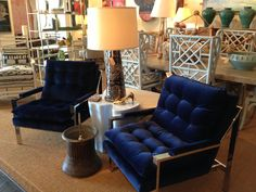 #midcentury inspired chairs just arrived at #mecox #houston: plush dark navy velvet and chrome make for the perfect combination #mecoxgardens #home #homedecor #interiordesign