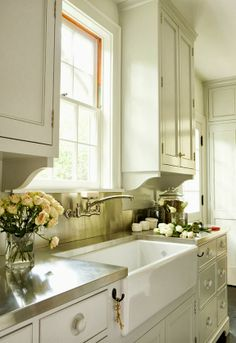 + Faucet: Kohlerclearwater sink supply faucet(in chrome) + Sink: Rohl single bowl fireclay apron sink
