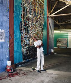 Mark Bradford, L. Studio Photo with Elgin Gardens [left] and The Next Hot Line [right] WSJ article of African American Artist, American Artists, Activist Art, Mark Bradford, Fantastic Art, New Artists, Art Studios, Artist At Work, Art And Architecture