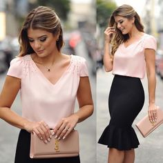 trumpet skirt with pearl blouse