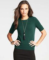 Collectible Cashmere Short Sleeve Sweater - It takes us a year to get our cashmere just right. Incredible softness, chic curated colors, the perfect weight (not to mention irresistible swoon factor) make it the gift you can be proud to give…and get. The most luxurious canvas for a chic statement necklace - and topper for a sensational skirt - this indulgence is anything but short on style. Crew neck. Short sleeves. Ribbed neckline, cuffs and hem.