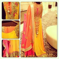 Yellow n pink with an embroided back...
