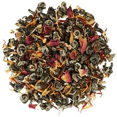 Organic Jasmine Rose green tea is scented with both jasmine blossoms and rose petals to produce its floral aroma- a relaxing and healthy tea for day or night. Jasmine Rose, Organic Green Tea, Tea Blends, Lemon Grass, Rose Petals, Healthy Drinks, Delicate, Chinese Medicine, Traditional Chinese