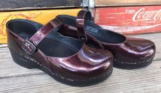 DANSKO Cranberry Patent Leather Strap Mary Jane Clogs Shoes 37 US 6.5-7 #Dansko #MaryJanes #Casual