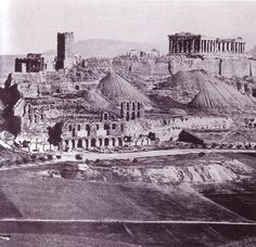 From the book of Alexandros Papageorgiou-Venetas, Athens: a vision of Classicism. The Frankopyrgos aka Tower of the Franks is standing still and mounds from the first excavations form an unfamiliar… Parthenon, Acropolis, Building On Fire, Ruined City, Greek History, Athens Greece, Old City, Historical Photos, Old Town