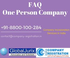 FAQ on One Person Company (OPC) in India ‪#‎company_registration‬ ‪#‎company_registration_details‬ www.company-registration.in