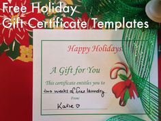 Free Gift Certificate Holiday With  Kb Gif Free Printable
