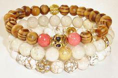 NEWWood Beaded Bracelet with Goldtone Skull and by rockstarsz, $11.99