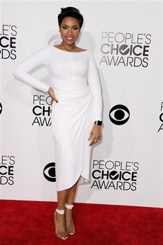 Jennifer Hudson was a vision in white in this KaufmanFranco getup at the People's Choice Awards on Jan. 8, 2014.