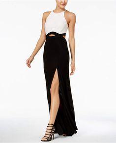 Blondie Nites Juniors' Colorblocked Lace Infinity-Waist Gown