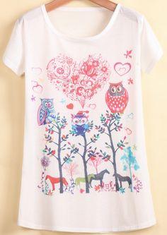 White Short Sleeve Guitar Cat Print T-Shirt - Sheinside.com