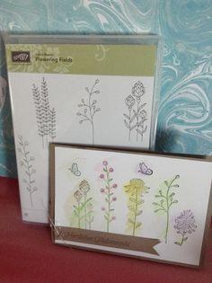 Heute habe ich eine weitere Karte zur Sale-A-Bration Zeit. Verwendet habe ich das SAB Set Flowering Fields und das Papier in den Farben Flüsterweiß & Savanne. Die Blumen und die Schmetterlinge ...
