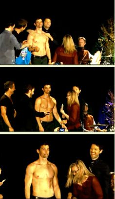 [GIFSET] Matt Cohen stripping for charity pt 2 ft. Richard Speight Jr. throwing money at him at DC Con, 2014--click through for full gifset!