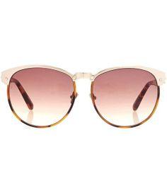 Brown 69 D-frame Sunglasses by Linda Farrow//
