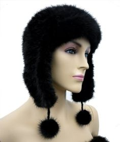 Knit Mink Trooper Hat with Pom Poms - Black Ships from New York City. Brand new. One Size. Premium Fur.  #Hima #Apparel