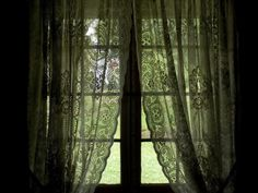 Looking Out the Window of a Log Cabin Through Lace Curtains Photographic Print by Todd Gipstein at Art.com