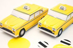 Taxi Cab Favor Box - DIY Printable PDF via Piggy Bank Parties Your guests will love HAIL-ing these checkered cabs!