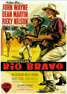 John Wayne/ Dean Martin/ Ricky Nelson - Rio Bravo Movie Wall Silk Poster 24X36 inch/60X90cm