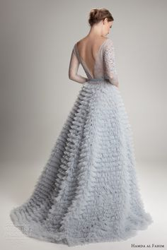 Hamda Al Fahim fall 2012/2013: ligh blue wedding dress illusion sleeves ruffle skirt back train