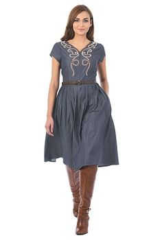 Cotton chambray is patterned with bead embellished and scallop V-neck while a faux leather belt cinches in the waist of our fit-and-flare for effortless, everyday elegance. Mature Women Fashion, Womens Fashion, Chambray Dress, Embellished Dress, Custom Dresses, Dress Codes, Women's Fashion Dresses, Fit And Flare, Sleeve Styles
