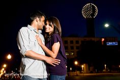 Downtown Dallas, Reunion tower engagement portrait session www.mirandalainephoto.com