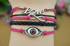 Infinity bracelet  Strange eye bracelet Love charm by TheGiftWorld, $4.99 Fashion handmade leather bracelet