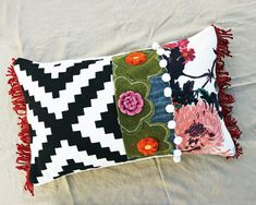 Hand Appliqué Embroidered Wool Oblong Accent Pillow With Fringe Boho Hippie