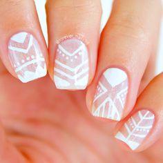 Tribal Negative Space Nail Art | Prom Nails / Wedding Nails #nails #tribalnails #promnails
