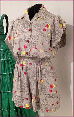 Printed rayon-blend playsuit by Joseph Zukin of California, American, c. 1945.
