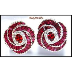 Gemstone Eternity Ruby Diamond Earrings 18K White by BKGjewels