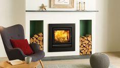 Stovax Riva 50 Inset Multifuel / Woodburning Stove - Multi Fuel Inset Stoves - All Stoves - Stoves Are Us Inset Log Burners, Modern Log Burners, Modern Wood Burning Stoves, Inset Stoves, Wood Stoves, Inset Fireplace, Wood Burner Fireplace, Wood Burning Fireplace Inserts, Fireplace Surrounds