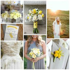 yellow and grey wedding inspiration board