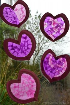 Paper Plate Hearts - Stained Glass Windows by Rebecca from Here Come the Girls at Red Ted Art