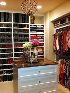 LA Closet Design CEO Lisa Adams made this celeb's Million Dollar Closets dream a reality with luxe touches like custom installations (space for every shoe), crystal drawer pulls and a glittering chandelier. Like this space the best? Click on to see your style twin!