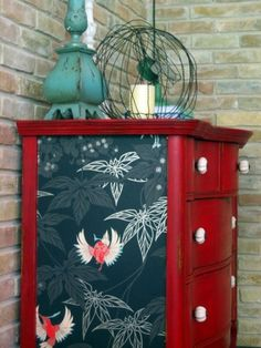 I love this and I have the perfect dresser in mind :) 25 Amazing DIY Furniture… - DIY Möbel Refurbished Furniture, Repurposed Furniture, Furniture Makeover, Painted Furniture, Furniture Stencil, Dresser Furniture, Furniture Projects, Furniture Making, Cool Furniture
