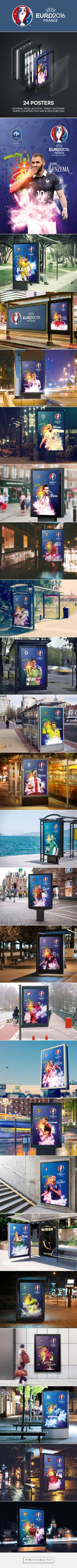 UEFA Euro 2016 Posters on Behance. - a grouped images picture Free Football, Uefa Euro 2016, Event Branding, Soccer League, Poster On, Event Design, World Cup, Competition, Web Design