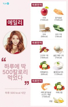 The first things Ailee eats in the morning are an apple, some chicken breast, one cup of soy milk, and a whole cucumber. On the menu for lunch is one . Diet Menu, Food Menu, Diet Plans To Lose Weight, How To Lose Weight Fast, Iu Diet, Skinny Diet, Korean Diet, Menu Dieta, Diet Recipes