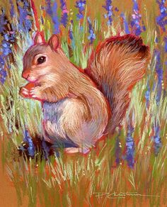 Munching Squirrel - Pastel Painting by Patricia Christensen