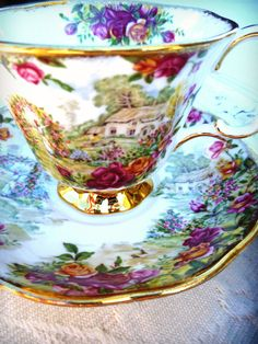 Cottage Chic Teacup and Saucer. Vintage Royal by ProvencalMarket, $75.00