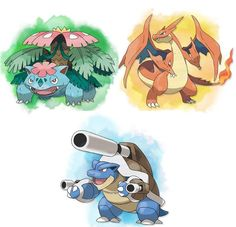 First Generation Mega Evolution Starters. Pokemon X And Y, Mega Pokemon, Mega Evolution, Charizard, Starters, Anime, Characters, Google Search, Figurines