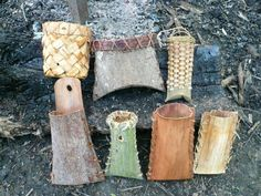 Woven willow bark bags