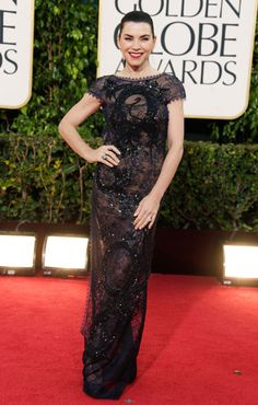 Julianna Margulies shows sultry appeal in a peek-a-boo dress by Pucci.  Golden Globes Red Carpet 2013 - Pictures from 2013 Golden Globes Red Carpet - Harper's BAZAAR