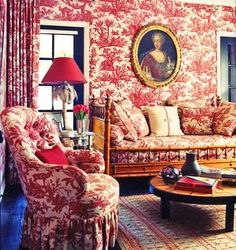 Red toile - Peter Dunham - never saw this room attributed to Peter before - different look for him.  Hmm...