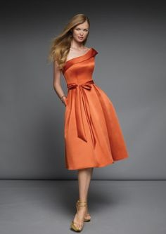 Orange homecoming dresswith one shoulder design and sash tiedat a bow. Made of satin. Free made-to-measurement service for any size. Available colors seen as in Color Options.