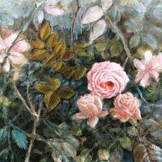 Style Rococo III (Peinture),  50x50x2 cm par Fabienne Monestier Technique mixte sur toile.  Couleurs subtiles : bleu gris, rose ancien, brun verdâtre, céladon, gris...  FRAIS DE PORT GRATUITS POUR LA FRANCE.